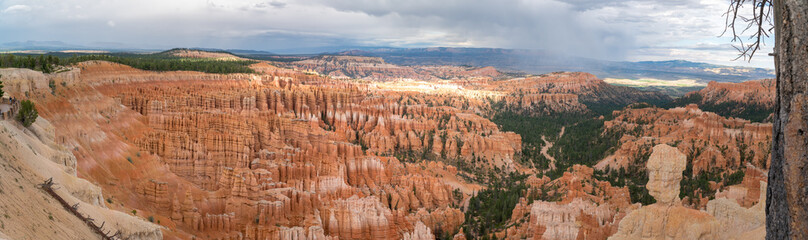Panoramic view over the needle shaped mountain structure at Bryce Canyon National Park, Utah, USA