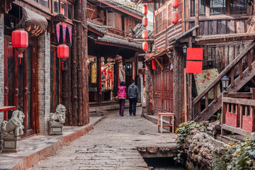 On the street of ancient town Shuhe, Lijiang, UNESCO World Heritage Site. Yunnan province, China. Travel Asia.