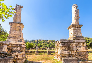 Statues on the ancient Agora, Athens, Greece