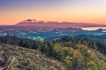 Tatra mountains panorama, autumn sunrise, Poland