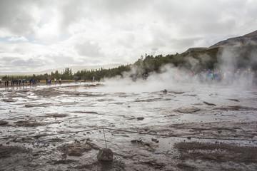 Steam on Geysir Strokkur before eruption in Iceland
