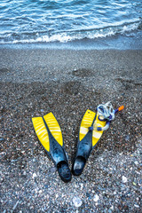 Snorkel with diving flippers