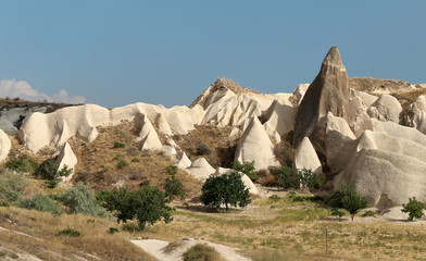 Photo of the beautiful sunny landscape of the mountains of Cappadocia in Turkey
