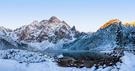 Scenery winter in Tatra mountains. Morskie oko lake