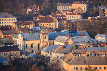 Lviv, city view, historical city center, Ukraine. Lviv roofs. The Church and Convent of the Benedictines