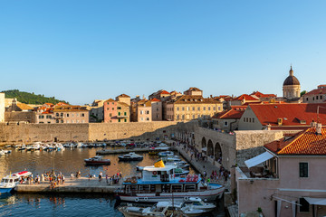 View to the old harbor of Dubrovnik on sundown