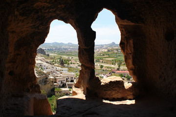 Ancient cave city of Cavusin in Cappadocia, Turkey