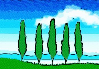 Paysage nuageux pop art