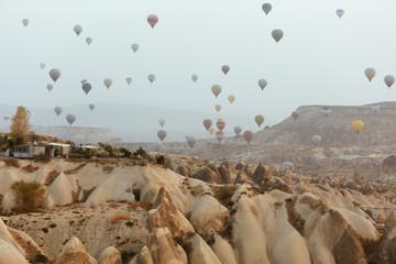 Ballooning At Cappadocia. Colorful Hot Air Balloons In Sky