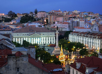 Lisbon - Portugal,Rossio square observed by a