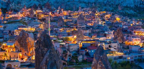 Night view of Goreme, Cappadocia, Turkey