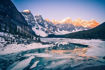 Frozen Moraine Lake in Canada