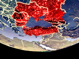 Satellite view of Black Sea Region from space at night. Beautifully detailed plastic planet surface with visible city lights.