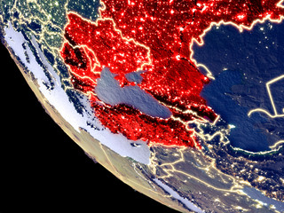 Orbit view of Black Sea Region at night with bright city lights. Very detailed plastic planet surface.