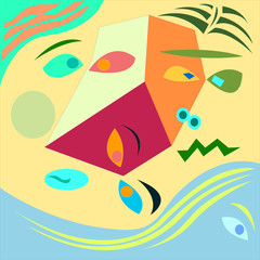 Abstract colorful background consists of faces- Eps10 vector graphics and illustration