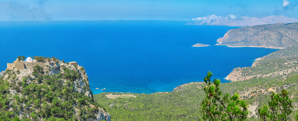 Overlooking the Venetian Castle at Monolithos built in 1480 by the Knights of Saint John, Rhodes Greece Europe