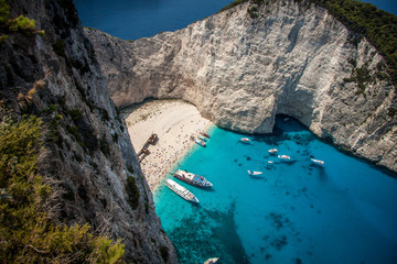 The shipwreck on the island of Zante, Greece. The view from the observation deck.