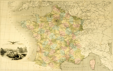Karte Frankreich Landkarte um 1870 historisch