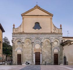 The facade of the church of San Bartolomeo in Pantano in Pistoia, Tuscany, Italy