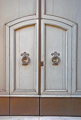 Italy Ravenna, medieval building entrance door.