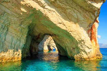 Famous blue caves view on Zakynthos island. Greece.