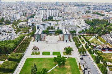 Aerial view of Parc Andre Citroen in 15th arrondissement of Paris
