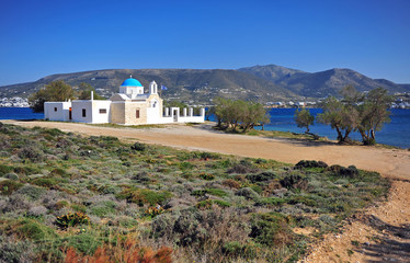 Scenic landscape with traditional greek church