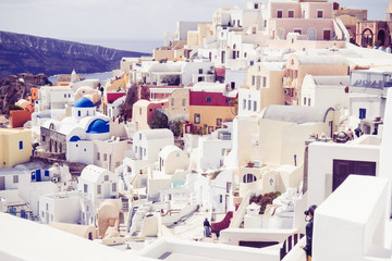 details of the architecture of the village of Oia Santorini
