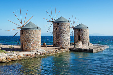 The windmills in Chios island, Greece