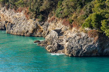 Cliff in the Gulf of La Spezia - Liguria Italy