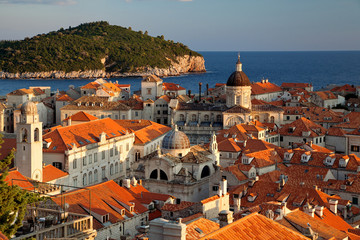 Dubrovnik, Dalmatia, Croatia - Old town of Dubrovnik at sunset, view from the fortress wall