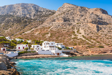 Coast of Sifnos island. The Kamares village surrounded by beautiful mountains. Greece