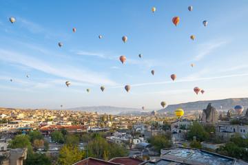 Hot air balloon are riding in Cappadocia, Turkey