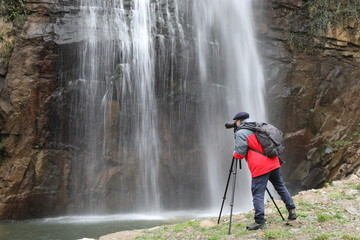 Black waterfall and nature