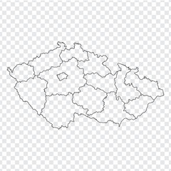 Blank map Czech. High quality map Czech with provinces on transparent background for your web site design, logo, app, UI. Stock vector.