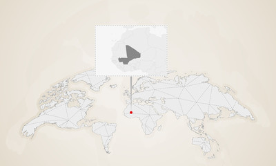 Map of Mali with neighbor countries pinned on world map.