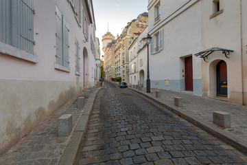 Paris. Famous old streets on the Montmartre hill.