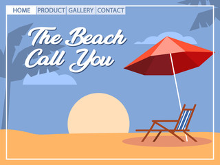 Beach Holiday Cubism Style For Homepage Design