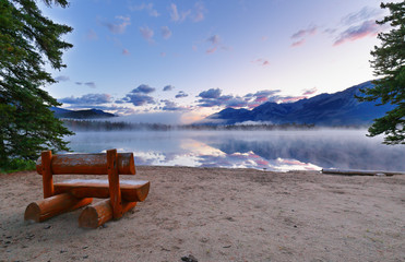 Beautiful sunrise over Edith Lake with fog, Jasper National Park, Alberta, Canada