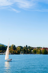 White sailing boats in lake Zurich, Switzerland