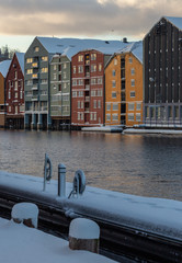 Winter time in Trondheim, old magazines by Nidelva river.