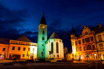 Center of Vodnany in winter night, Czech republic.