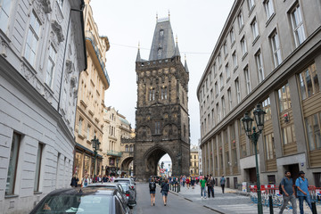 Prague, Czech Republic - August 25 2018: Powder Tower is the gateway to the medieval Royal Route which leads through the Old Town over the Charles Bridge and up to the vast castle