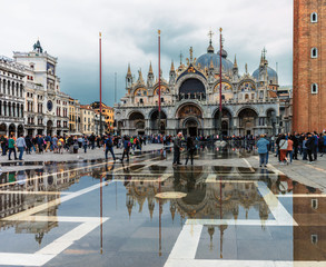 St. Mark's Square Venice Italy with Water Reflection