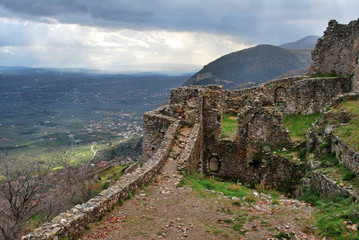 The ancient Byzantine town of Mistras in Greece