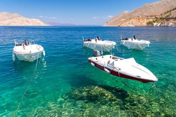 Fishing boats at the coast of Symi island, Greece
