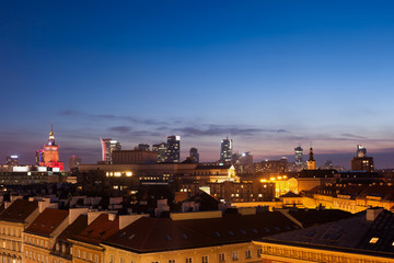 Warsaw Skyline at Dusk in Poland