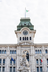 Trieste City Hall and Four Continents fountain in Italy