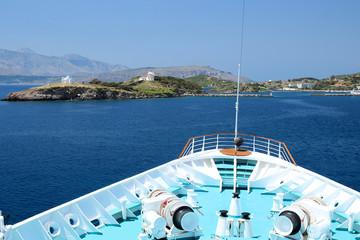 Blick auf Insel Inousses in der Ägäis