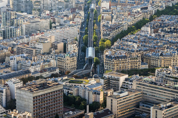 Aerial view of line 6 of Parisian metro, seen form the Montparnase tower